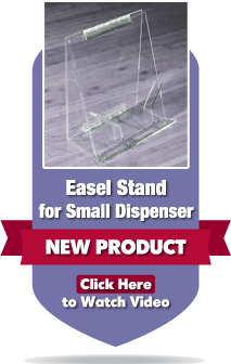 Photo of easel stand for small dispenser